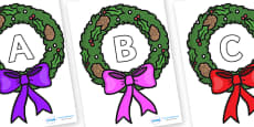 A-Z Alphabet on Christmas Wreaths