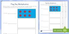 Flag Day Multiplication Flag Design Activity