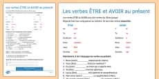 Present Tense ETRE and AVOIR French