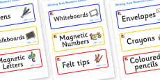Mondrian Themed Editable Writing Area Resource Labels