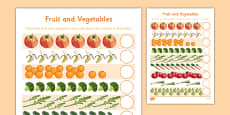 Fruit and Vegetables Counting Sheet