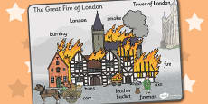 The Great Fire of London Scene Word Mat