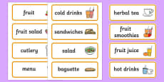 Healthy Eating Cafe Role Play Word Cards