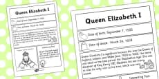 Elizabeth I Significant Individual Fact Sheet