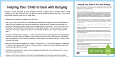 Helping Your Child to Deal with Bullying Parent and Carer Information Sheet