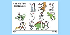 Dinosaur Themed Number Formation 1-10 Activity Sheet