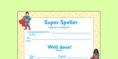Super Spelling Award Romanian Translation