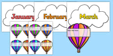 Editable Hot-Air Balloon Birthday Display