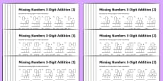 Addition 3 Digit Numbers Missing Numbers Differentiated Activity Sheet Pack