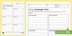 Energy Scavenger Hunt Homework Activity Sheet