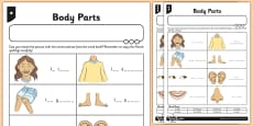 French My Body Parts Activity Sheet