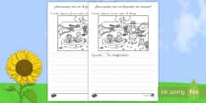 Ficha de actividad: Escribir sobre el dibujo - Jardín de verano