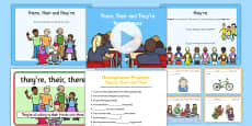 There, Their and They're Homophones Resource Pack