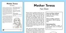 Mother Teresa Significant Individual Fact Sheet