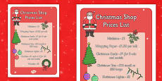 Christmas Shop Role Play Prices List