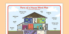 Parts of a House Word Mat Arabic Translation
