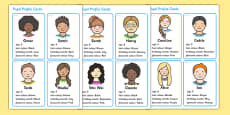 Made Up Pupil Profile Cards for Graphs and Data Collection