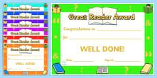 Great Reader Award Certificates