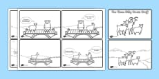 The Three Billy Goats Gruff Story Sequencing with Speech Bubbles (4 per A4)