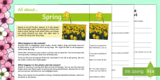 Spring Reading Differentiated Comprehension Activity Sheet Pack English/Romanian