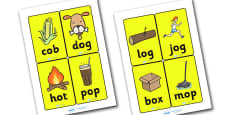 CVC Word Cards O for Visually Impaired
