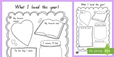 End of School Year Memory Writing Activity Sheet