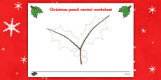Christmas Pencil Control Activity Sheets (Holly)