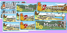 Months of the Year With Seasons Theme Display Posters Arabic Translation