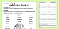 Alphabetical Countries Activity Sheet