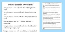 Avatar Creator Activity Sheets