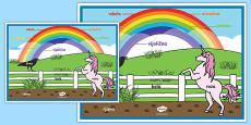 Póster Colores del arco iris - esloveno Spanish / Español