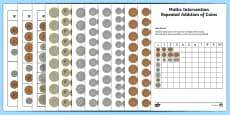 Maths Intervention Repeat Addition of Coins Grid