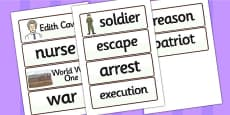 Edith Cavell Word Cards