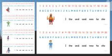 Combined Alphabet and Number Strips (Superhero)