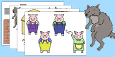 The Three Little Pigs Story Cut Outs