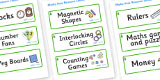 Spruce Themed Editable Maths Area Resource Labels
