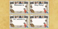 Pirate Themed Editable Class Welcome Signs