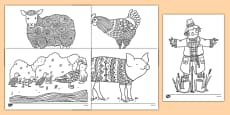 Farm-Themed Mindfulness Colouring Sheets