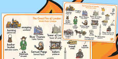 The Great Fire of London Word Mat Polish Translation
