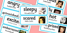 EAL Large Detailed Emotions and Feelings Photo Word Cards Arabic Translation