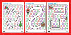 Christmas Pencil Control Path Activity Sheets