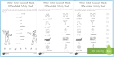 Winter Initial Consonant Blends Differentiated Activity Sheets