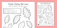 Fractions Colouring Sheet Leaves