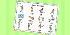 EAL PE Games Word Mat Arabic Translation