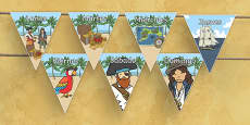 Pirate Themed Days of the Week on Bunting Spanish