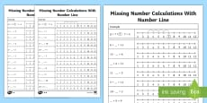 Missing Number Calculations with a Number Line Activity Sheet