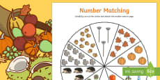 Number Matching Pegs Autumn Themed