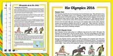 KS1 Rio Olympics 2016 Differentiated Reading Comprehension Activity Romanian Translation