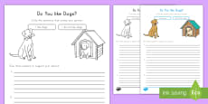 * NEW * Do you like dogs? Opinion Writing Template