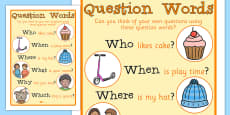 Question Words Large Display Poster